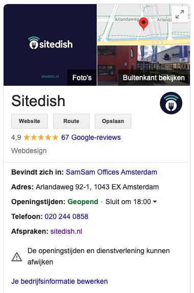 Sitedish op Google My Business