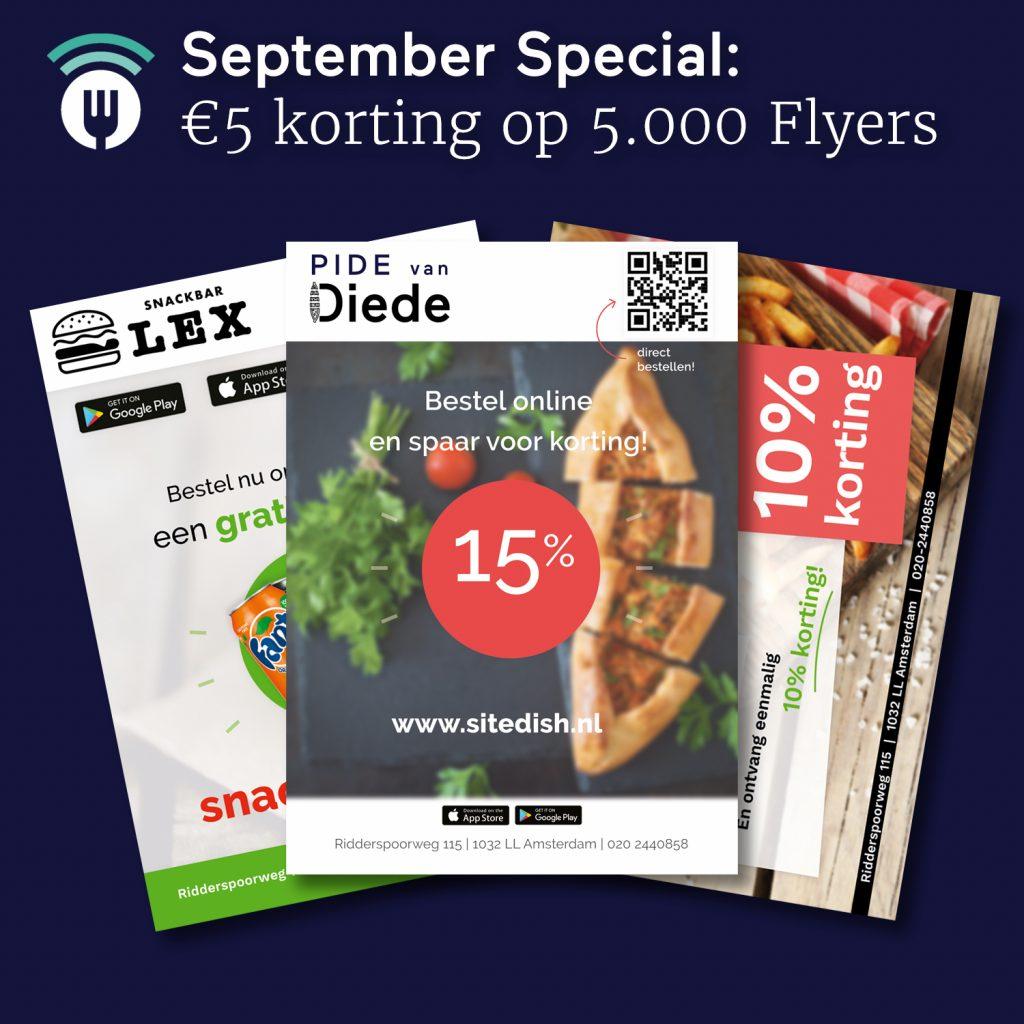 Sitedish September Actie: €5 korting op 5.000 flyers!